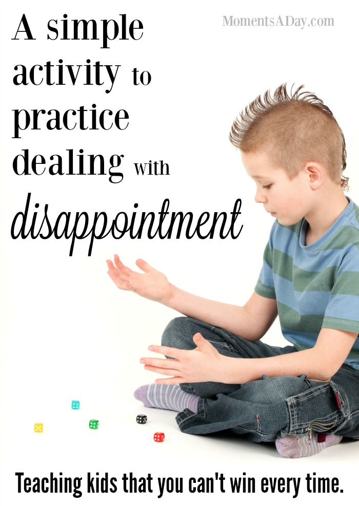 A discussion starter activity for dealing with disappointment to help kids learn to lose graciously