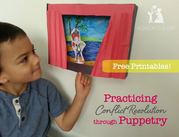 Ideas for practicing conflict resolution using free printable puppets from Disney Junior
