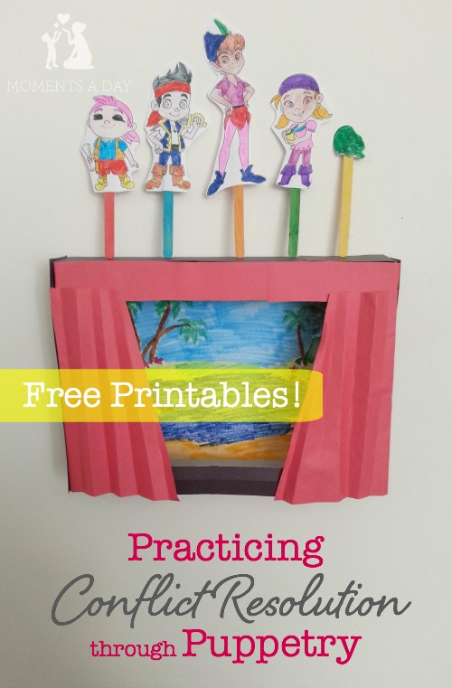 Ideas for practicing conflict resolution using free printable puppets