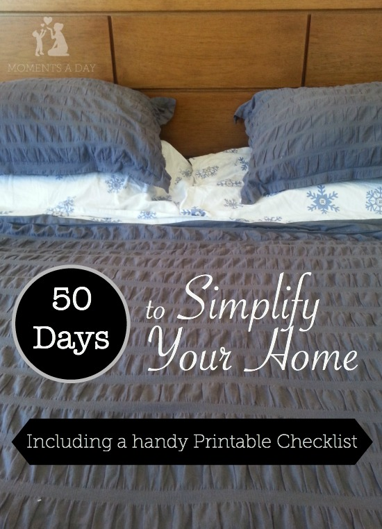 Simplify your house using this handy printable checklist - a few minutes for 50 days