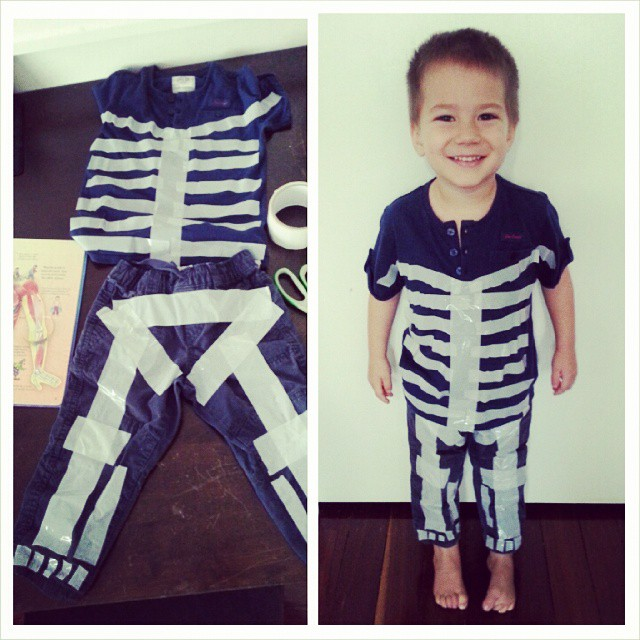 Quick DIY skeleton costume thanks to the idea from @artfulparent - we will add a few more bones before heading out to the Halloween Festival tomorrow! He has been so excited to