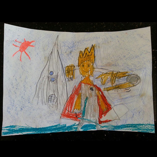 Mr 6 had an assignment in school to draw himself as a prince after reading a story... I got a kick out of his explanation about all the accessories but especially when he said that the castle in the background was like the one in Frozen. First time he's drawn something from that movie ;) #frozen #prince #kidsdrawings