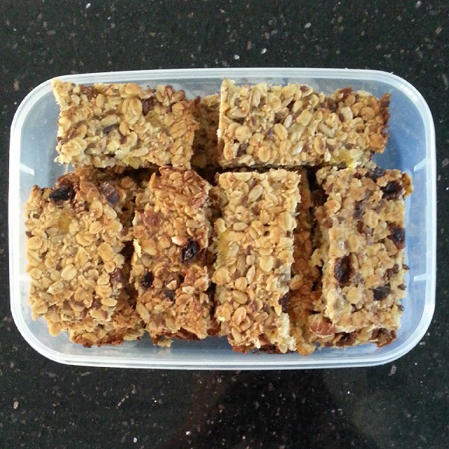Early morning baking - oat slice recipe from @justfordaisy :) We used butter and sunflower seeds and Mr 3 is gobbling them up.  I really need to experiment making some nut free muesli bars for lunchboxes... anyone have recipes to recommend?! #baking #lunchboxfiller