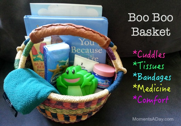 Check out the post for a list of what you should put in a Boo Boo Basket