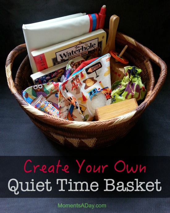 Make your own quiet time basket to use when the kids need some down time