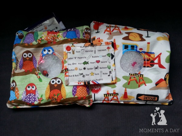 Make your own quiet time basket with adorable spy bags