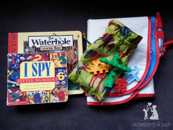 Make your own quiet time basket with simple toys and books