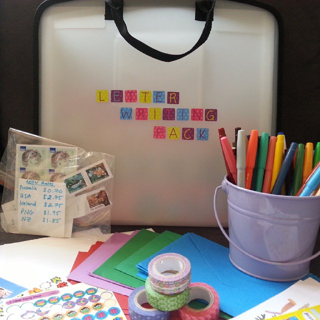 Inspired after receiving and then posting our first letters to the boys' new penpals in Ireland, I decided to put together a Letter Writing Pack using stuff we had at home. Excited to get our next letter to see how the boys like using it :) #letter #snailmail #literacy #learningabouttheworld #creativetable #penpals