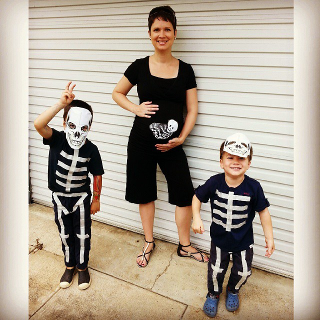 Heading out to the Halloween market with my little skeletons #halloween #diycostume #skeleton