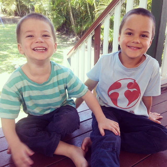 Looking through photos from the past few months I found this little gem. Can't believe how fast they are growing up ♥ #raisingsons #lovemyboys