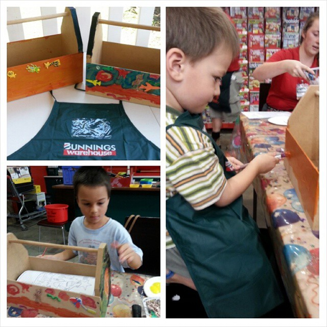 The boys had an awesome time at the kids DIY woodworking workshop at Bunnings today. They nailed toolboxes together then painted and decorated them with stickers - mine were the last of at least 8 kids to finish as they were loving it so much hehe. #brisbane #bunnings #kidsworkshop #weekends
