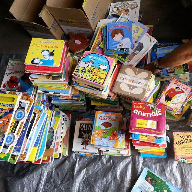 Over 300 board books collected for a preschool in Papua New Guinea started by my inlaws, thanks to my boys' classmates. Now time to sort and drop them off to be shipped there! #52actsofkindness #familyservice #serviceproject #booksforkids