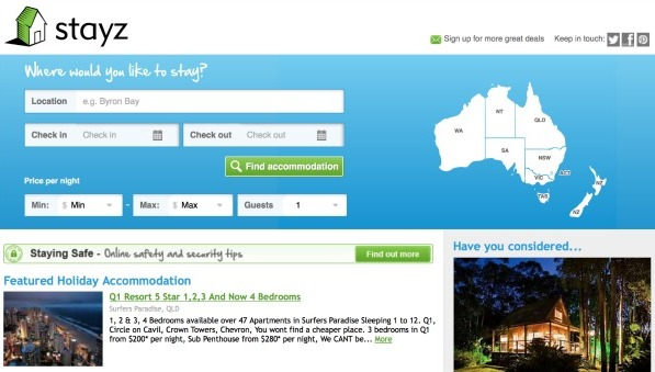Stayz offers an easy way to find holiday rental properties all over Australia