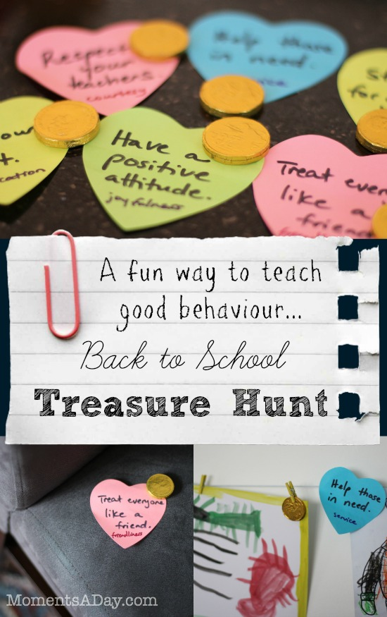 Back to school treasure hunt to remind kids to be on their best behaviour in a fun way