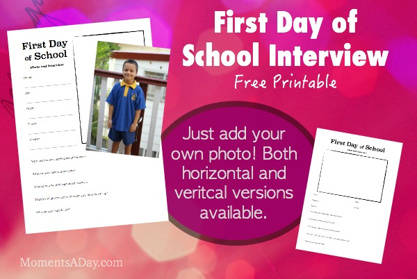 First Day of School Interview  Free Printable