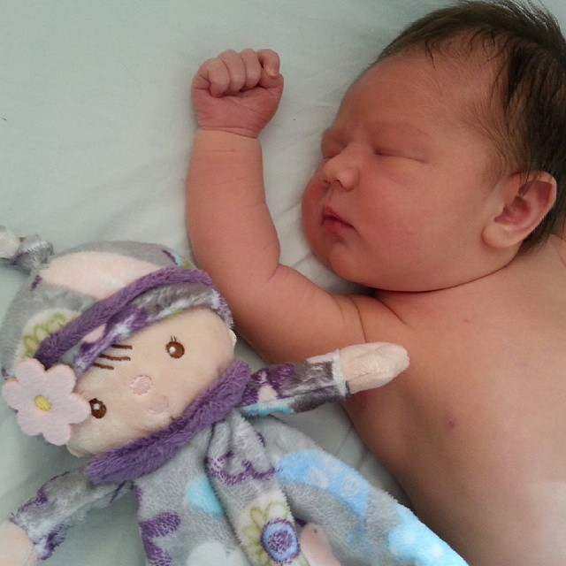 Almost 24 hours old with a doll from her auntie who lives far far away - this is one time I really miss my family overseas #love #babygirl #doll