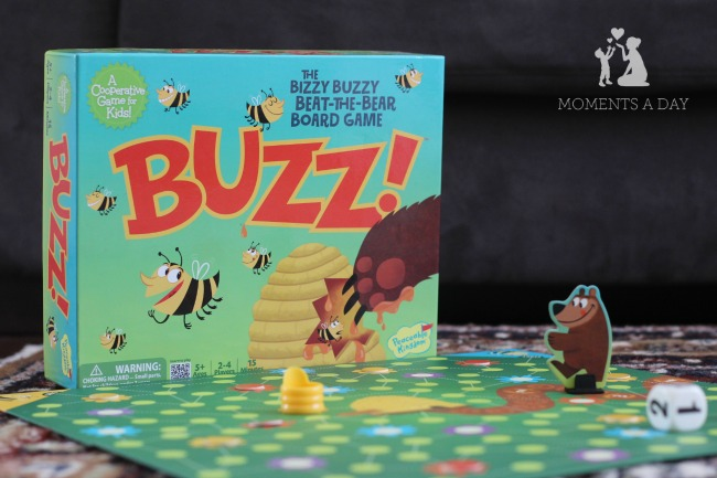 Cooperative board game for kids from Peaceable Kingdom called Buzz featuring bees and a bear