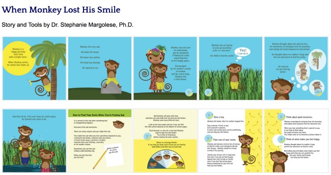When Monkey Lost His Smile book to help kids deal with sadness