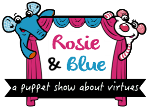 Rosie and Blue Puppet button