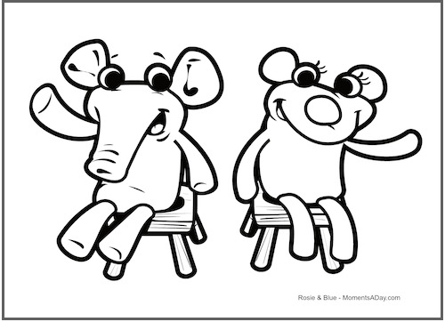 coloring page for rosie and blue