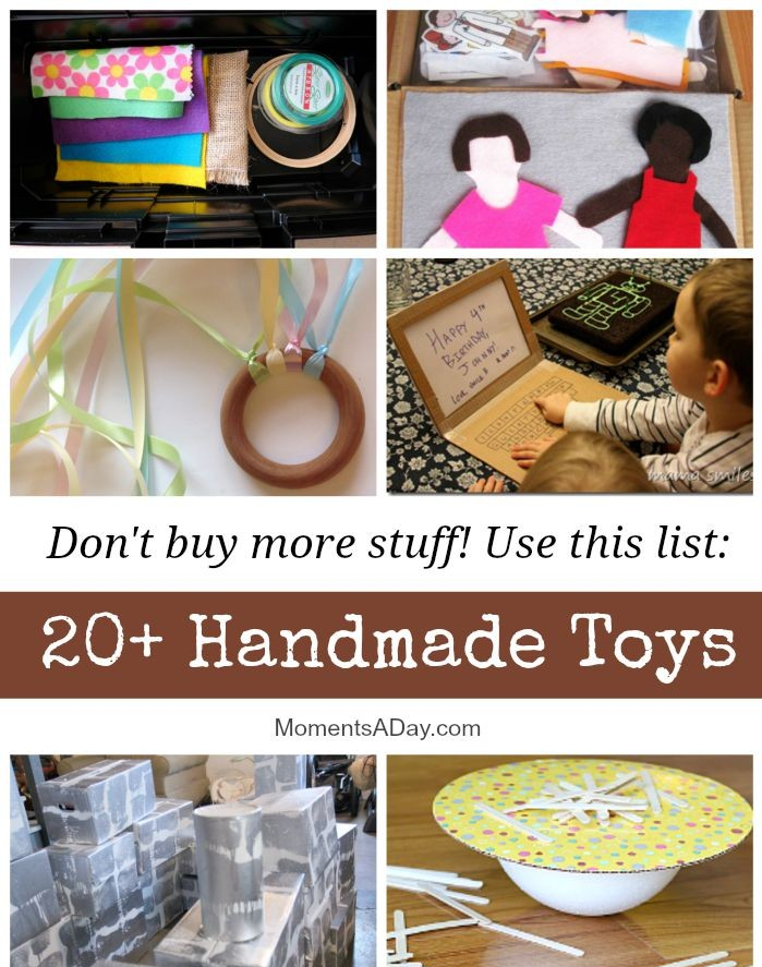 20+ Handmade Toys for Kids including giant blocks, clothespin fairies, cereal box garage and printable masks