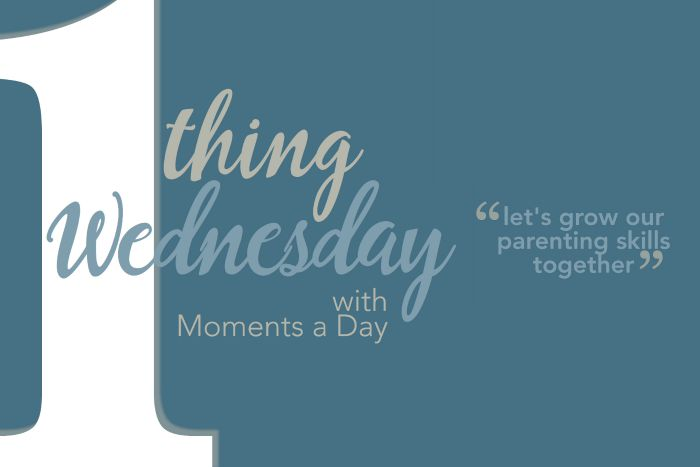 One Thing Wednesday is a Facebook discussion series at Moments A Day sharing parenting inspiration