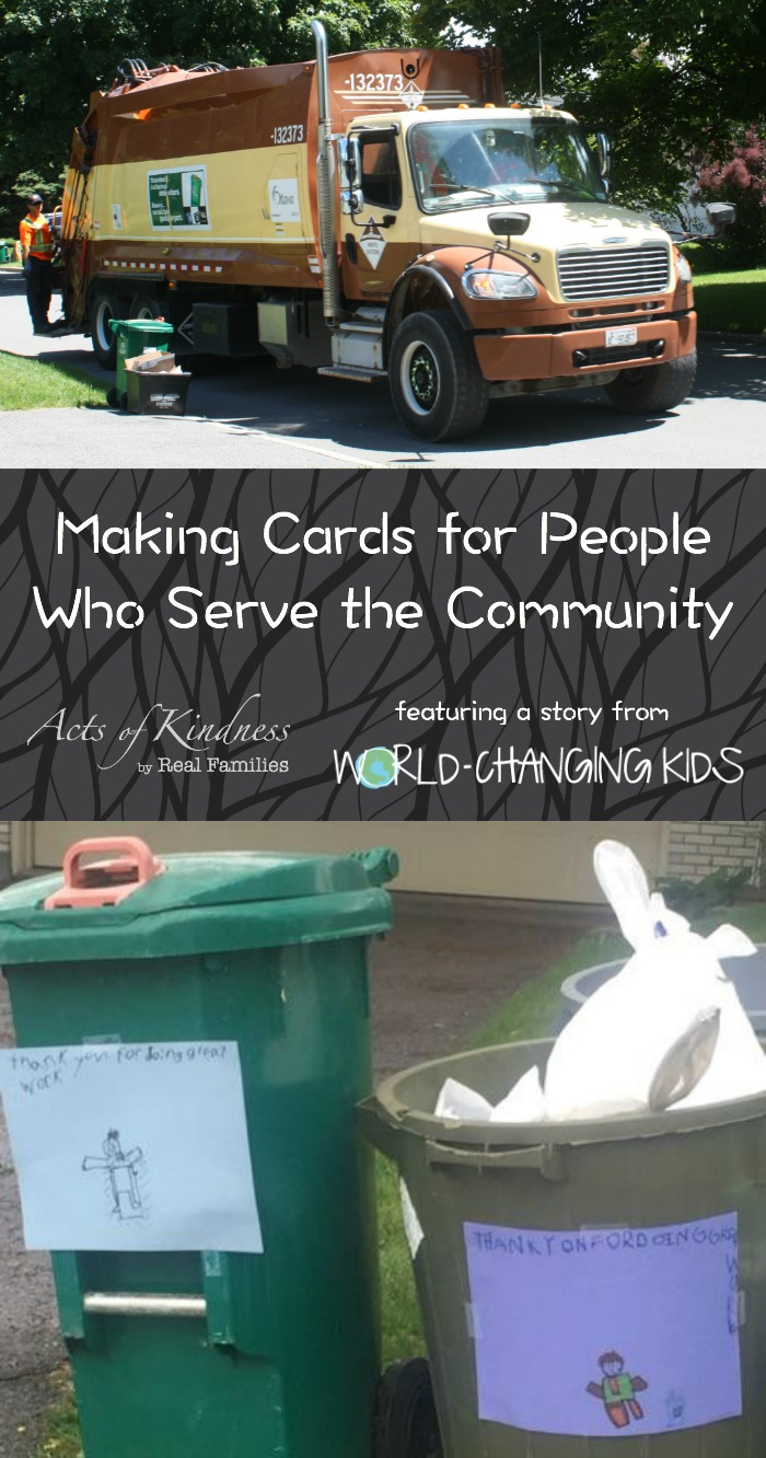 Easy act of kindness for kids - read about how to make kindness cards for people who serve the community
