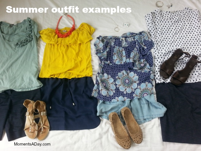 Summer outfits created from a capsule wardrobe