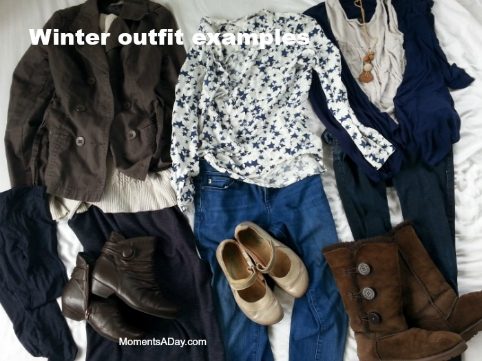 Winter outfits made from a capsule wardrobe