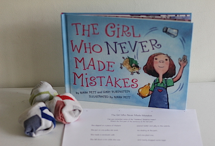 A story which teaches kids not to stress about making mistakes plus printable and hands on activities