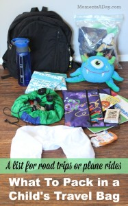 List of what to bring for a child on a long trip whether in the car or on a plane