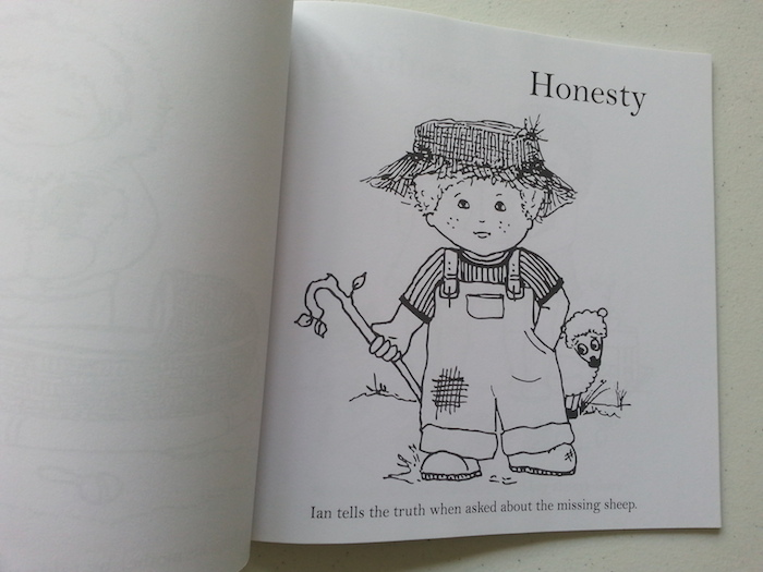 A great first colouring book for young kids that also helps you discuss virtues