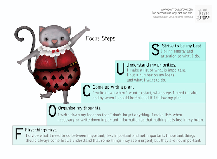 Free printable tools to teach children about how to work on focus