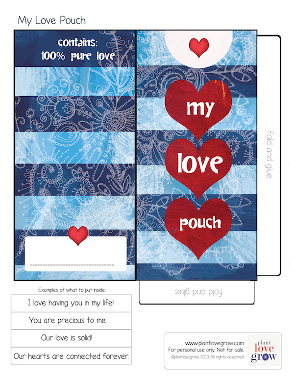 My Love Pouch printable activity for children and adults to encourage loving relationships