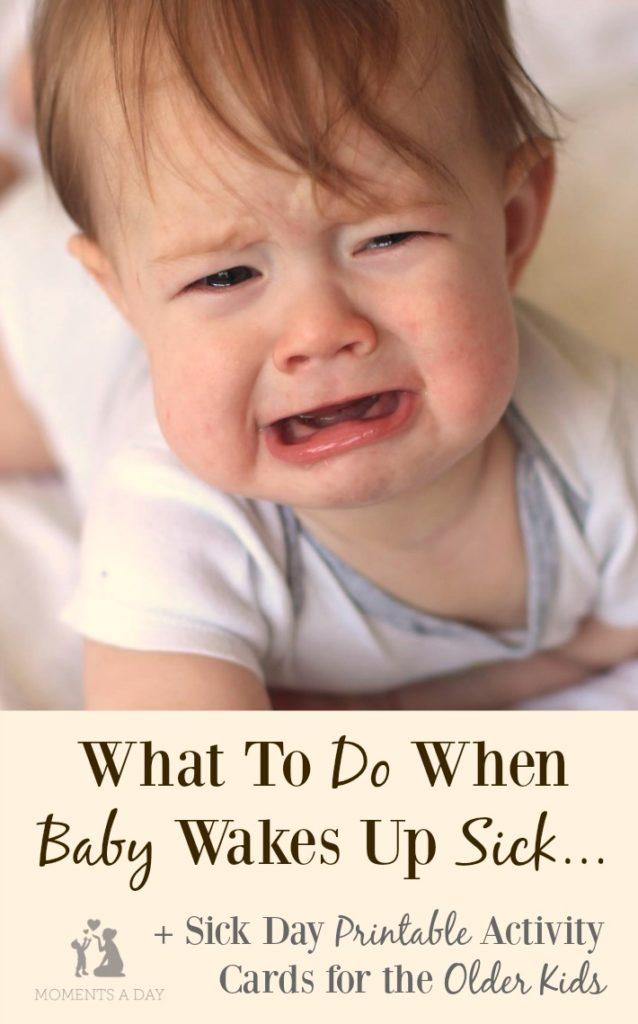 Tips for helping baby get through a cough or a cold plus printable sick day activity cards for big siblings who have to stay at home