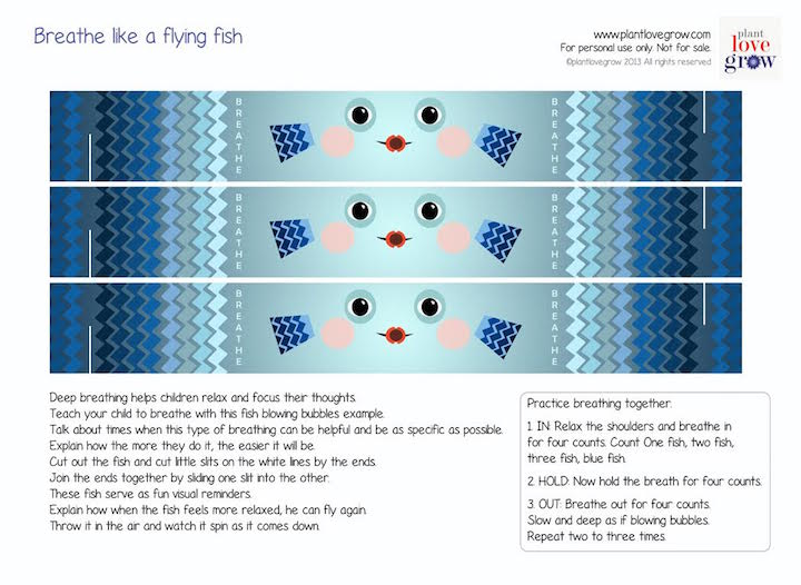 Printable flying fish to learn the value of breathing to calm and refocus