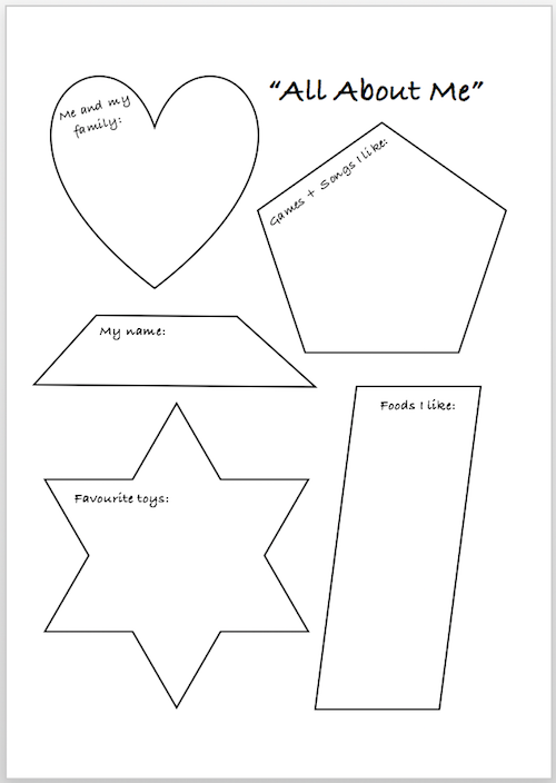 All About Me free printable to use when young children are entering a new childcare arrangement.
