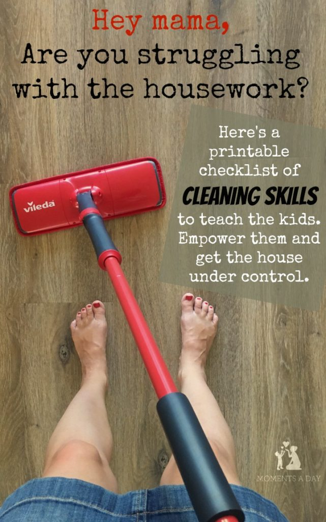 A printable checklist of cleaning skills for kids to learn