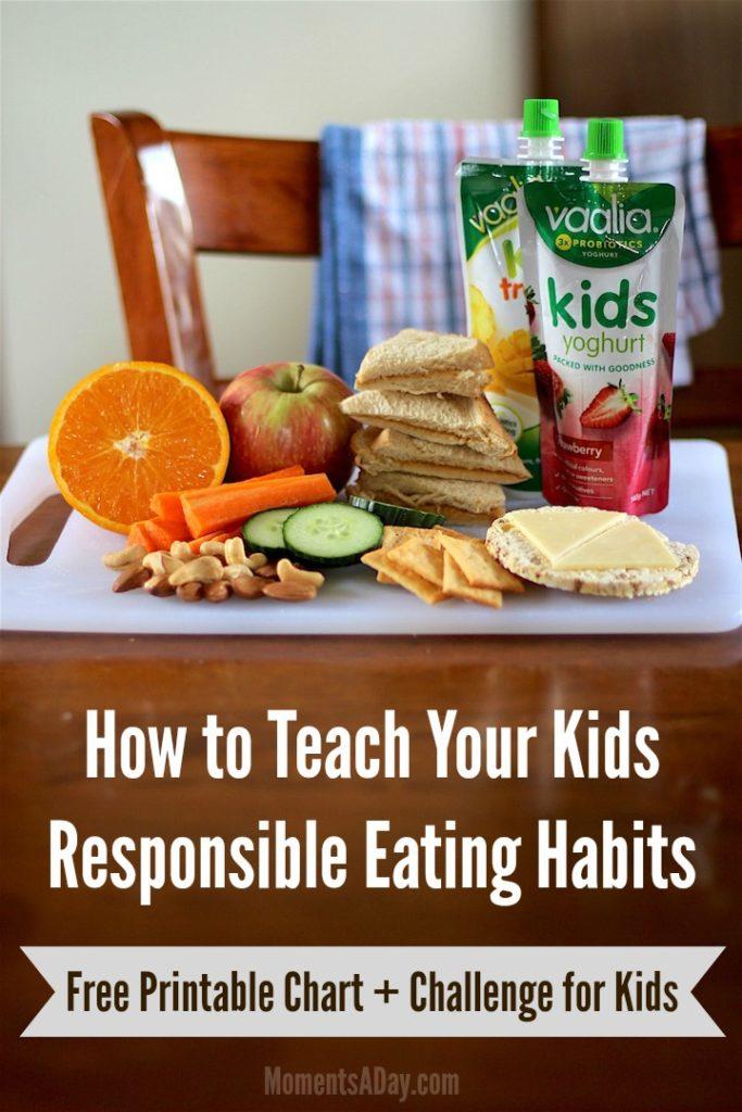 Tips + Printable Chart + Fun Challenge to Teach Kids Responsible Eating Habits
