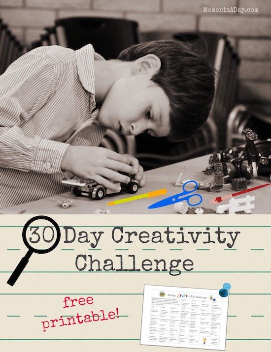 30 Day Creativity Challenge for Kids free printable