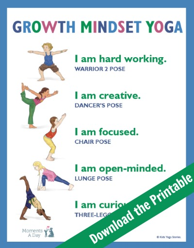 picture relating to Kids Yoga Poses Printable named Enhancement State of mind Yoga Totally free Printable - Instances A Working day