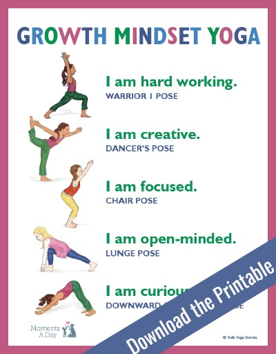 picture regarding Yoga Poses for Kids Printable titled Enhancement State of mind Yoga No cost Printable - Times A Working day