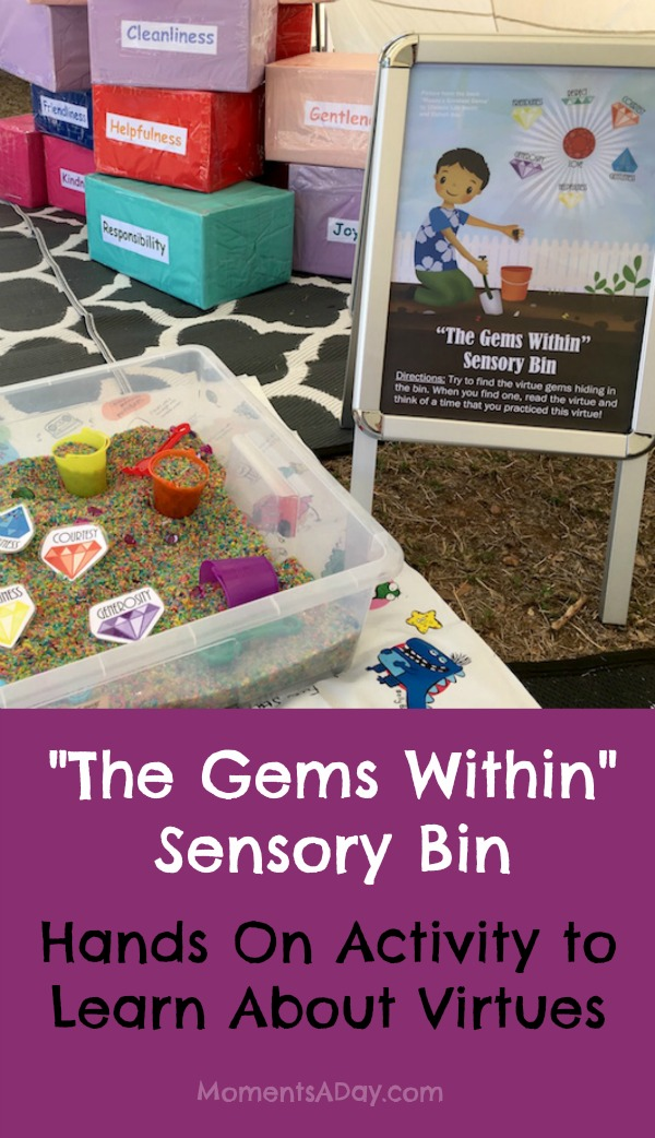 The Gems Within Sensory Bin is a Hands On Activity to Learn About Virtues with free printables