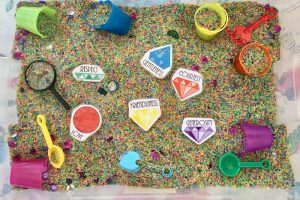 """The Gems Within"" Virtue Sensory Bin {Free Printables}"