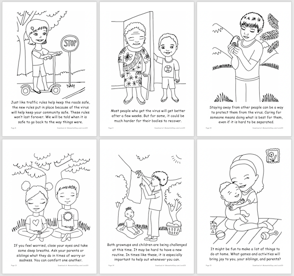 Sample pages in the Coronavirus activity book free printable
