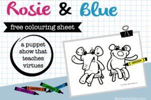 """Rosie & Blue"" Free Printable Colouring Sheet"